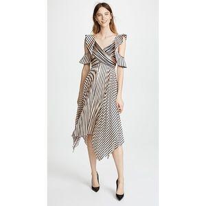Self Portrait Nude Stripe Pleated MIDI Dress NWT